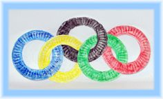 Preschool Crafts for Kids*: Easy Olympic Rings Paper Plate Craft~ you can embellish them with glitter or whatever you would like