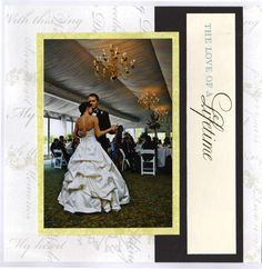 This simple layout shows our first dance at our wedding reception. It belongs at the end of my wedding planning scrapbook. Wedding Album Layout, Wedding Scrapbook Pages, Bridal Shower Scrapbook, Love Scrapbook, Scrapbook Page Layouts, Scrapbooking Ideas, Wedding Planning Book, Wedding Book, Wedding Cards