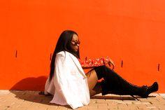 Bold colors. Italian Yaki texture hair. Natural looking hair. Black girl hair. Thigh high boots. Laced boots. white blazer. designer clothes. XIPIXI