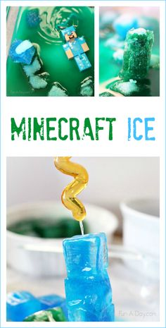 A fun, hands-on Minecraft activity for kids to try. Create icy Minecraft blocks, then build with them and melt them. Minecraft-inspired science for kids. Minecraft Activities, Science Activities For Kids, Minecraft Crafts, Stem Science, Minecraft Party, Science Experiments Kids, Summer Activities, Learning Activities, Preschool Activities