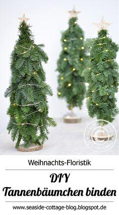 DIY Anleitung Tannenbäumchen binden, natürliche Weihnachtsfloristik www.seaside-cottage-blog.blogspot.de