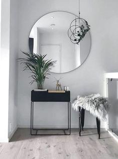 "Modern entryway table ideas round mirrors - explored ""entryway table i Decor, Living Room Interior, Home And Living, Entryway Table Modern, Interior Design, Home Decor, House Interior, Room Decor, Apartment Decor"