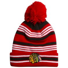 Chicago Blackhawks Toddler Red, White, and Black Knit Pom Hat by Old Time Hockey #Chicago #Blackhawks #ChicagoBlackhawks