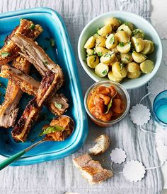 Roast pork belly with peach relish and potato and parsley salad - Gourmet Traveller