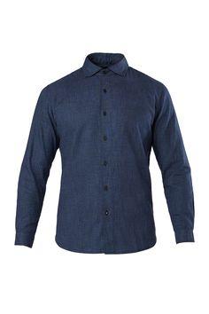 3x1 Spread Collar Shirt in Indigo Weaver