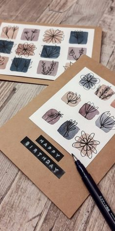 Paper Cards, Diy Paper, Diy Cards, Diy Presents, Diy Gifts, Watercolor Birthday Cards, Diy Crafts For Girls, Karten Diy, Happy Paintings