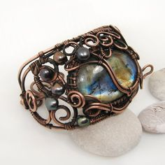 Wire wrapped jewelry with natural stones and Lampwork by NatalkaArtCopper Rustic Jewelry, Boho Jewelry, Gemstone Jewelry, Fashion Jewelry, Handmade Jewelry, Wire Wrapped Bracelet, Copper Bracelet, Bracelet Sizes, Pearl Beads