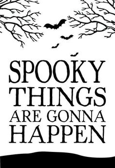 Spooky things are gonna happen.