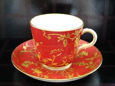 Porcelain cup and saucer set by Minton, England c.1882