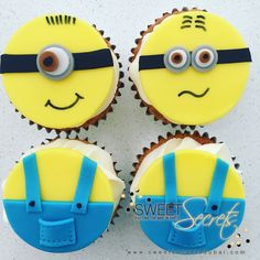 Minion Cupcakes www.sweetsecretsdubai.com Minions, Minion Cupcakes, Buttercream Cupcakes, Baby Shower, Sugar, Cookies, Sweet, Party, Desserts