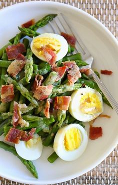 Asparagus Egg and Bacon Salad with Dijon Vinaigrette - SO GOOD!