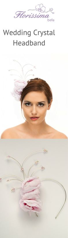Sparkling headband with blush silk English roses and pink glass crystals creates bold effect and polished look for a trendy bride.  https://florissimabella.co.uk/product/wedding-headband-with-crystals/