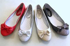 New Round Toe Slip-on Ballet Flats PU & Glitter Bow Red Silver Gold Black 5.5-10 | eBay