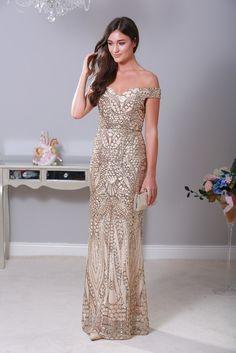 Mamie Embellished Gold Maxi Dress