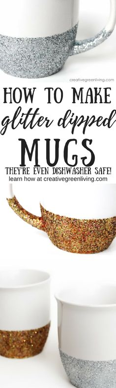 How to make dishwasher safe glitter dipped mugs. These are so pretty and easy to make. It's the perfect mug craft to get some sparkle!