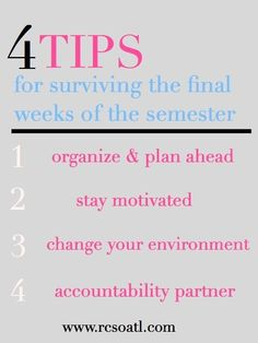 Real College Student of Atlanta: Tips for surviving the final weeks of the semester