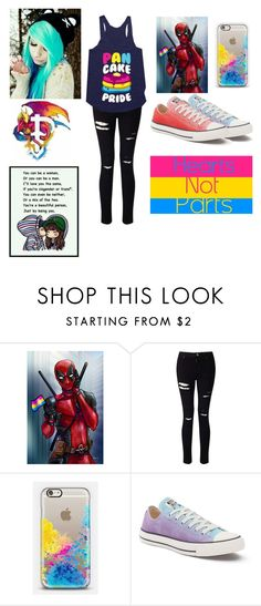"""""""Pansexual pride"""" by ninjatyrantturtle ❤ liked on Polyvore featuring Miss Selfridge, Casetify and Converse"""