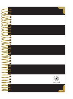 2017-18 Daily Planner, Black & White Stripes Hard Cover PRE-ORDER