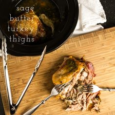 Slow cooker sage butter turkey thighs are everything that you want from turkey-flavorful, moist, and fall-off-the-bone tender-without the worry of heating up the house or having to constantly check a thermometer. | chattavore.com ##sc ##lc