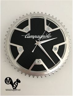 A personal favourite from my Etsy shop https://www.etsy.com/uk/listing/569314481/campagnolo-victory-chainring-clock-with