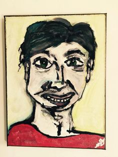 Abstract Portrait Black Haired Man Red Shirt by nikkibarnesart
