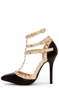 f57535aa21b Wild Diva Lounge Adora 55 Black Studded T-Strap Pointed Heels. Lulus. Pointed  HeelsStiletto ...
