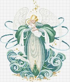 Schema punto croce angelo del mare · zoom_in Cross Stitch Fairy, Cross Stitch Angels, Just Cross Stitch, Cross Stitch Charts, Cross Stitch Patterns, Cross Stitching, Cross Stitch Embroidery, Cross Stitch Numbers, Stitch And Angel