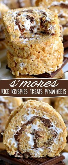 S'mores Rice Krispies Treats Pinwheels are infinitely better than traditional s'. - S'mores Rice Krispies Treats Pinwheels are infinitely better than traditional s'mores! Loaded w - Oreo Dessert, Bon Dessert, Dessert Bars, Yummy Treats, Sweet Treats, Yummy Food, Graham Crackers, Graham Cracker Dessert, Köstliche Desserts