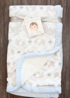Blankets & Beyond Soft Baby Blanket ~ Elephants ~ White, Blue & Gray #BlanketsBeyond #BabyBoy #Elephants