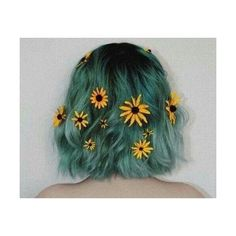Grassy green hair color with daisies Dye My Hair, New Hair, Color Fantasia, Hair Dye Colors, Grunge Hair, About Hair, Pretty Hairstyles, Unique Hairstyles, Hairstyle Ideas