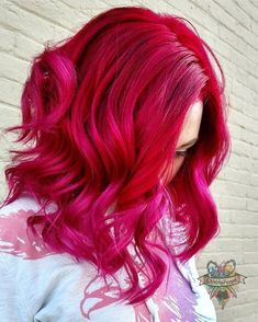 Pulp riot - pink purple red coloured hair curly pastel bright