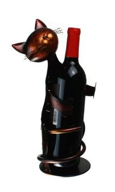 "Amazon.com: Metal Cat - Decorative Wine Bottle Holder - Caddy - Display - 13"" Tall"" X 4.5"": Home & Kitchen"