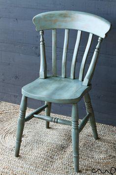 Shabby Chic Farm House Chair Annie Sloan Duck Egg by redchocol8