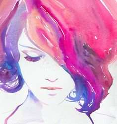 Watercolour Painting Fashion Illustration Print - Rosa