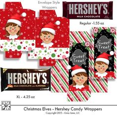 Elf Christmas DIY printables - Hershey Candy Bar Wrappers for kids -  DAISIE COMPANY: Clipart, Printables, Graphics, DIY Crafts for Kids, Parties, Candy Wrappers, by artist Gina Jane for DAISIECOMPANY