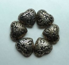 Vintage Antiqued Silver Heart Fancy Button Covers Puffed Heart Rustic Americana Victorian Intricate Design Large Hearts Craft Supply by BonTempsBijoux on Etsy