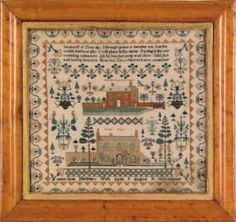 English silk on linen sampler dated 1822, wrought by Jane Mortimer, depicting Horse Hill House Near London and Newton Cottage,