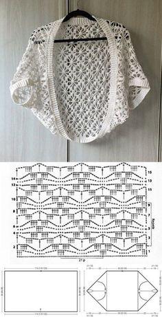 10 modelos de blusa de crochê com gráfico do ponto ⋆ De Frente Para O Mar - Crochet Cardigan Au Crochet, Gilet Crochet, Crochet Motifs, Crochet Jacket, Crochet Cardigan, Crochet Shawl, Crochet Stitches, Knit Crochet, Crochet Shrugs