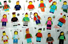 """Here's another fun way to learn about the guys who start the year 8 and to get some clues about their personality: I invited each student to draw your own """"avatar"""" of lego and add some characterist. Teaching Drawing, Drawing Lessons, Teaching Art, Painting For Kids, Art For Kids, Visual Art Lessons, Self Portrait Drawing, 7th Grade Art, Lego Design"""