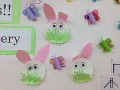 Easter rabbits using cotton wool on paper plates and toilet roll butterflies