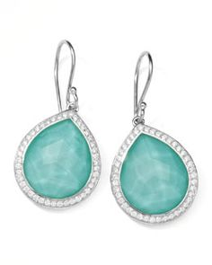 "Y1HVA Ippolita Stella Teardrop Earrings in Turquoise Doublet with Diamonds, 1""L"