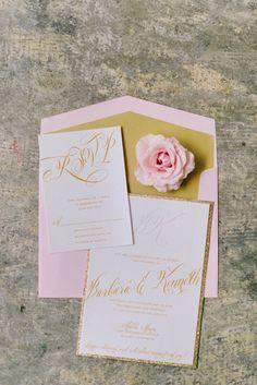pink and gold invites, photo by Mikki Platt http://ruffledblog.com/barbie-inspired-wedding-ideas #weddinginvitations #stationery #invitations