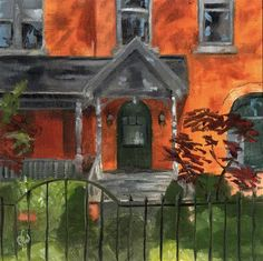"""Daily+Paintworks+-+""""Red+Brick+House""""+-+Original+Fine+Art+for+Sale+-+©+Gary+Westlake"""