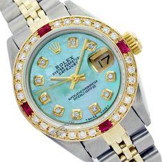 Rolex 69173 Lady DJ Two-Tone Green MOP Diamond/Bzl/Ruby Jubilee Swiss Watch 26mm #Rolex #Casual