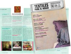 "Spanish magazine ""Textiles para el Hogar"" featuring RUSTIC POP collection by Alhambra."