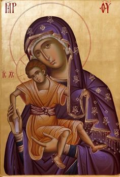 """Handpainted Byzantine Icon of """"Panagia Theotokos """" on wood with original GOLD LEAF 22 karat. Byzantine Icons, Byzantine Art, Blessed Mother Mary, Blessed Virgin Mary, Religious Icons, Religious Art, Russian Icons, Madonna And Child, Art Icon"""