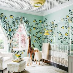 A bespoke hand painted and hand beaded lemon wallpaper and matching fabric for @dinabandmaninteriors unbelievably enchanting nursery…