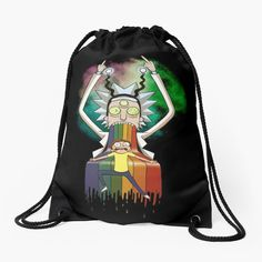 'Peace among worlds - Rick & Morty (TM) ' Drawstring Bag by MonoMano Backpack Bags, Drawstring Backpack, Unique Bags, Rick And Morty, Pouches, Woven Fabric, Chiffon Tops, Cat Lovers