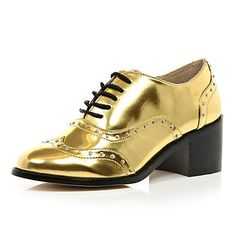 Gold studded chunky heel brogues - brogues / loafers - shoes / boots - women river island. Shouldn't love them but i do!