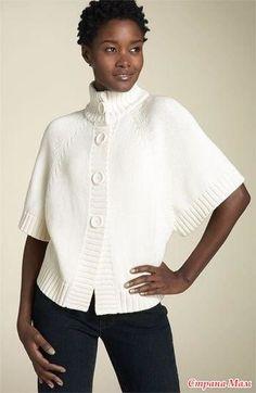 . La chaqueta-poncho por los (rayos) - la Labor de punto - el País de las Mamás Sweater Knitting Patterns, Easy Knitting, Knitting Stitches, Knitting Designs, Knit Patterns, Knitting Needles, Knitwear Fashion, Sweater Fashion, Pulls